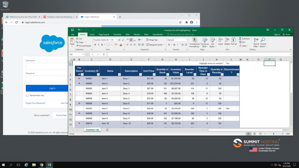 Summit secure work space screenshot.
